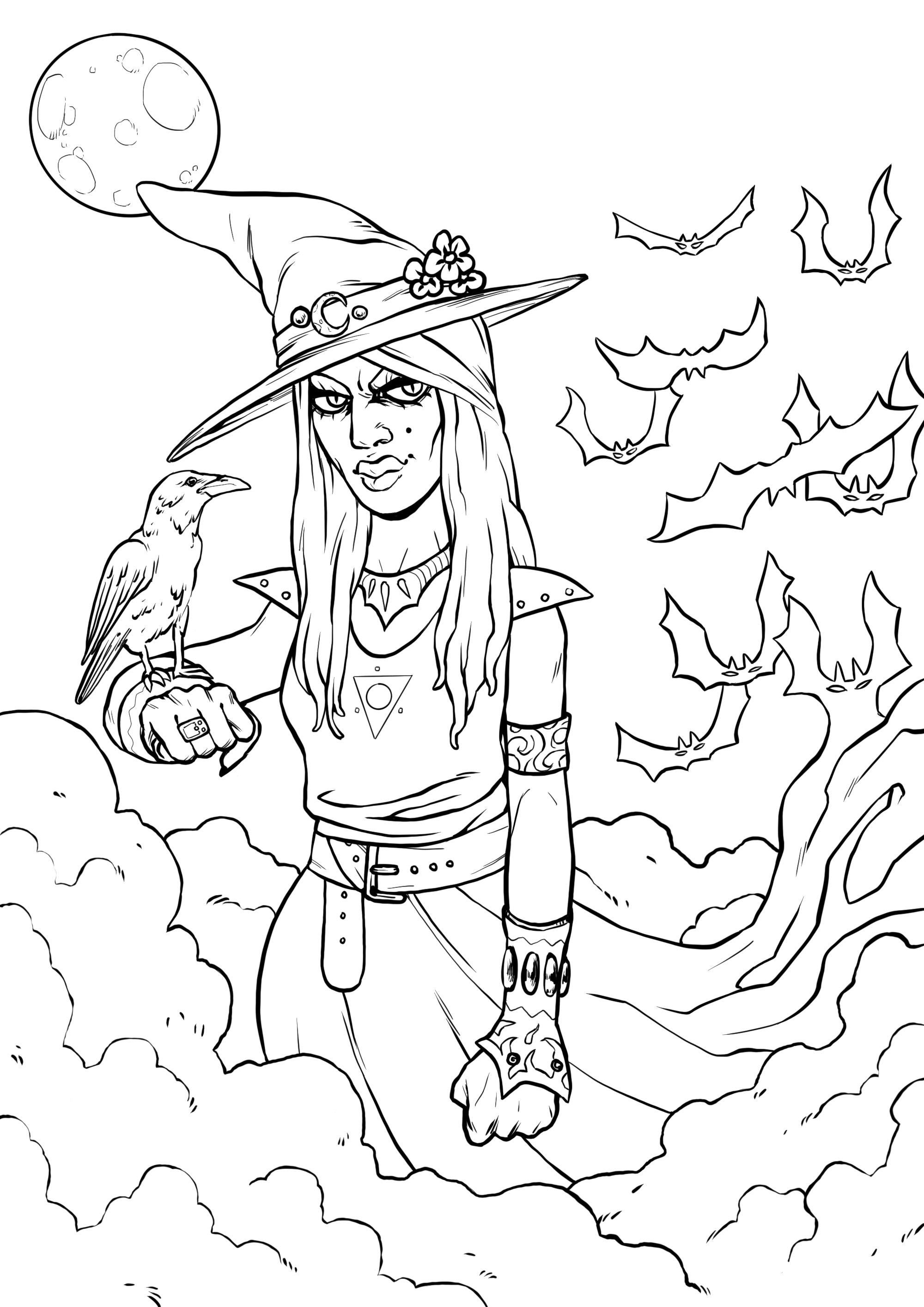 Sorcière et son corbeau   Coloriage Halloween   Coloriages pour ...