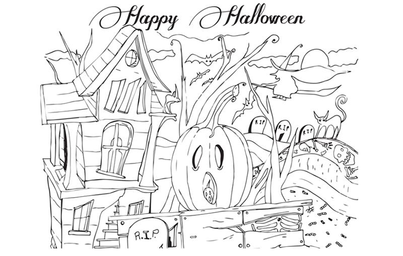 Coloriage Halloween centré sur les citrouilles