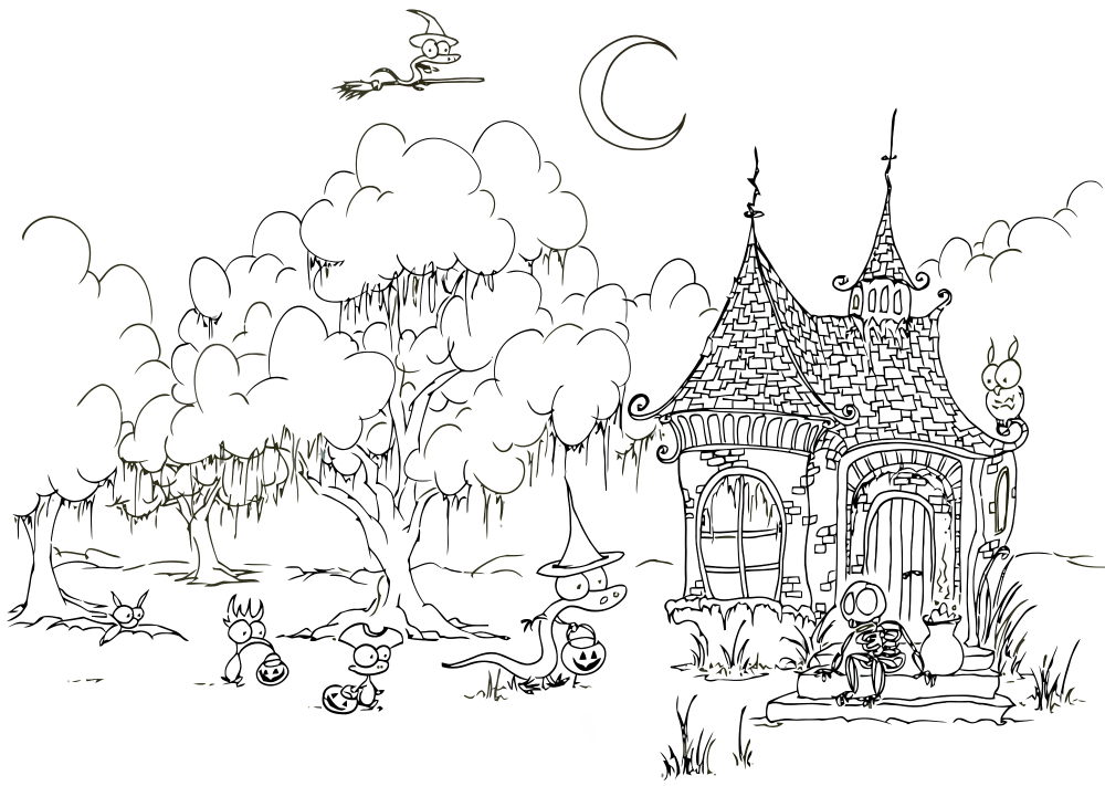 Halloween trick or treat coloriage halloween coloriages pour enfants - Dessin de halloween a imprimer gratuit ...