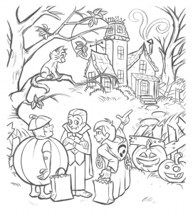 coloriage-gratuit-halloween-deguisements free to print