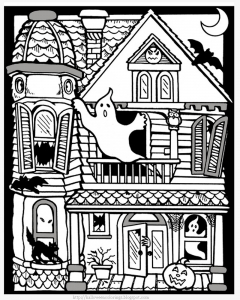 coloriage gratuit halloween maison hantee