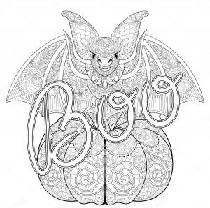 Coloriage halloween boo chauve souris