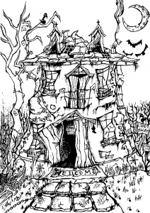 Coloriage halloween chateau effrayant