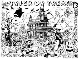 Coloriage halloween chateau hante trick or treat
