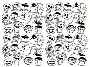 Coloriage halloween doodle complexe