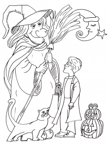 coloriage-halloween-gentille-sorciere free to print