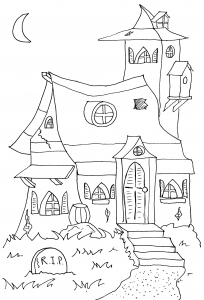 Coloriage halloween manoir hante