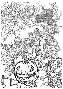 Coloriage halloween monstres reunis