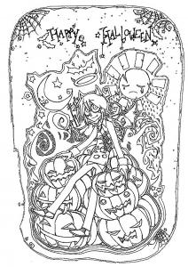 Coloriage halloween personnage et citrouilles