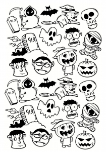 Coloriage halloween personnages doodle