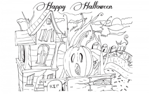 Coloriage halloween trick or treat