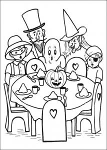 Coloriage d'Halloween avec fantômes