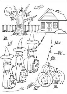 Sorcière d'Halloween à mettre en couleur