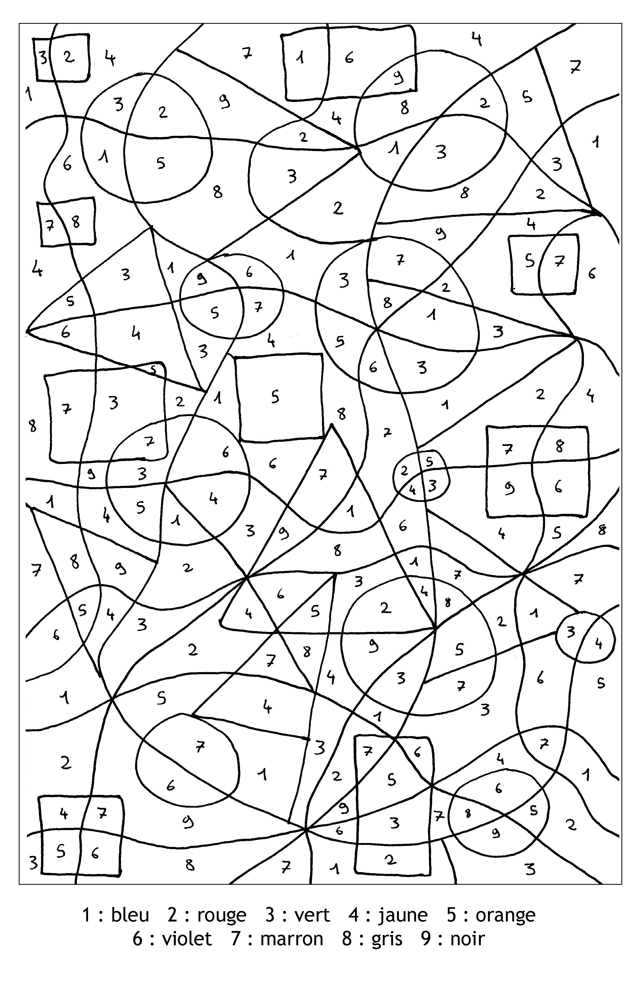 Magique chiffres formes coloriage magique coloriages pour enfants - Coloriage magique pour cm2 ...