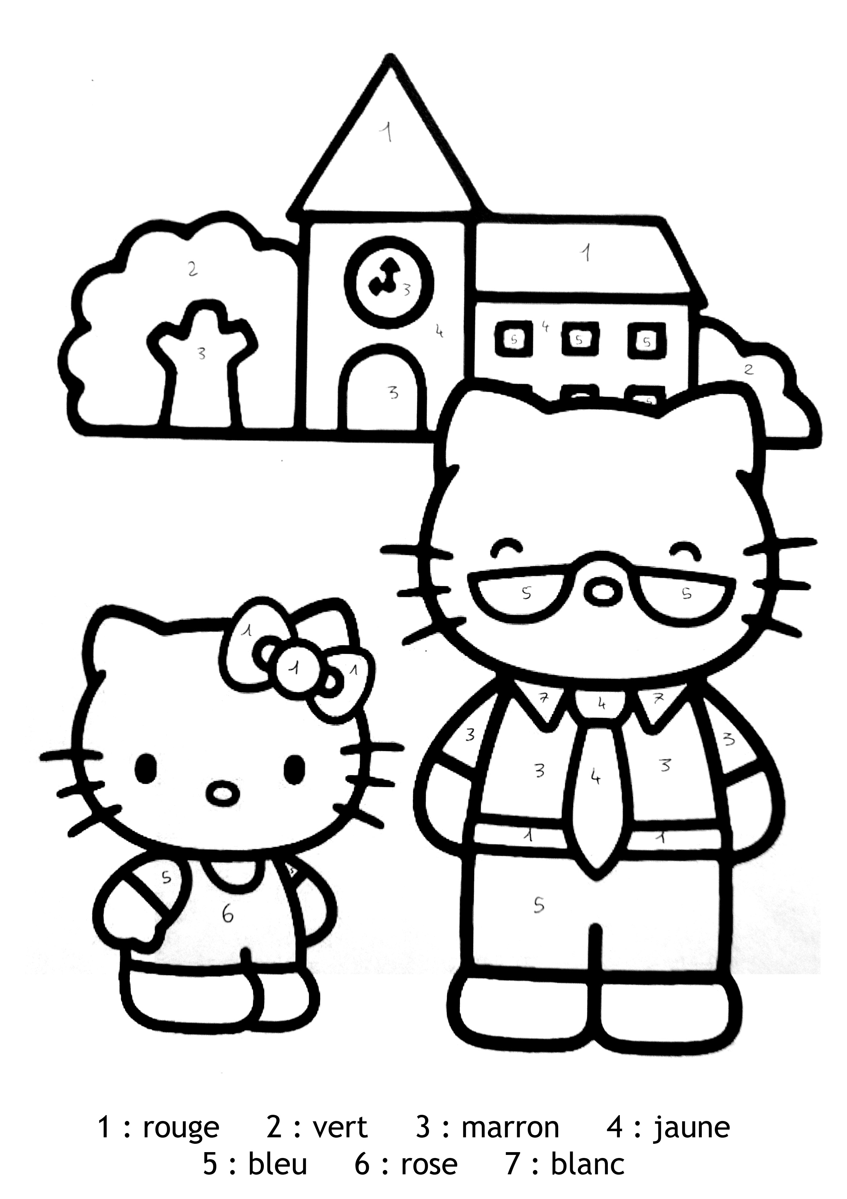 Delightful Coloriage Magique Hello Kitty #8: Coloriage-magique-hello-kitty-facile Free To Print