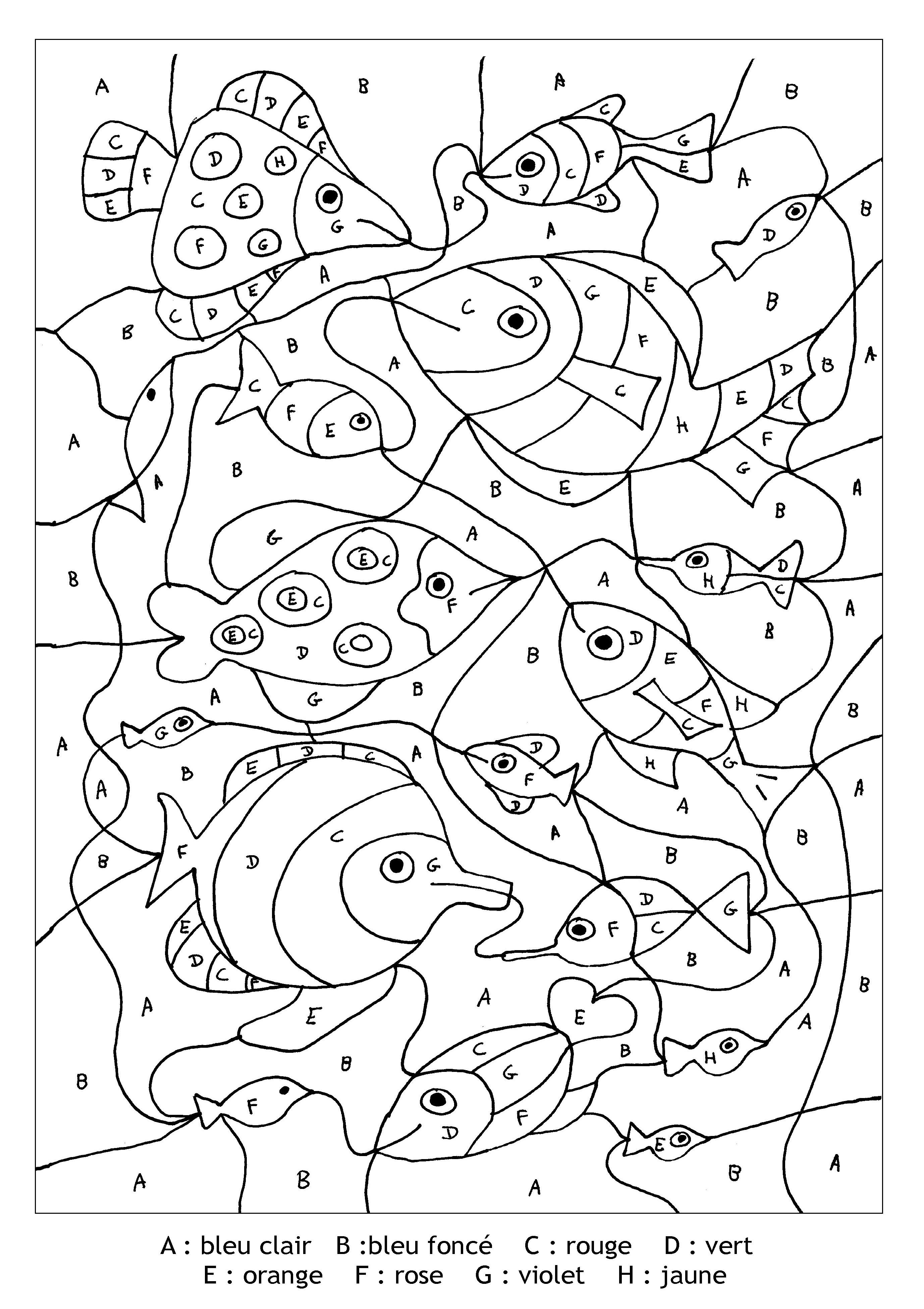 Grâce aux lettres indiquées, donnez de jolies couleurs à ces poissons !