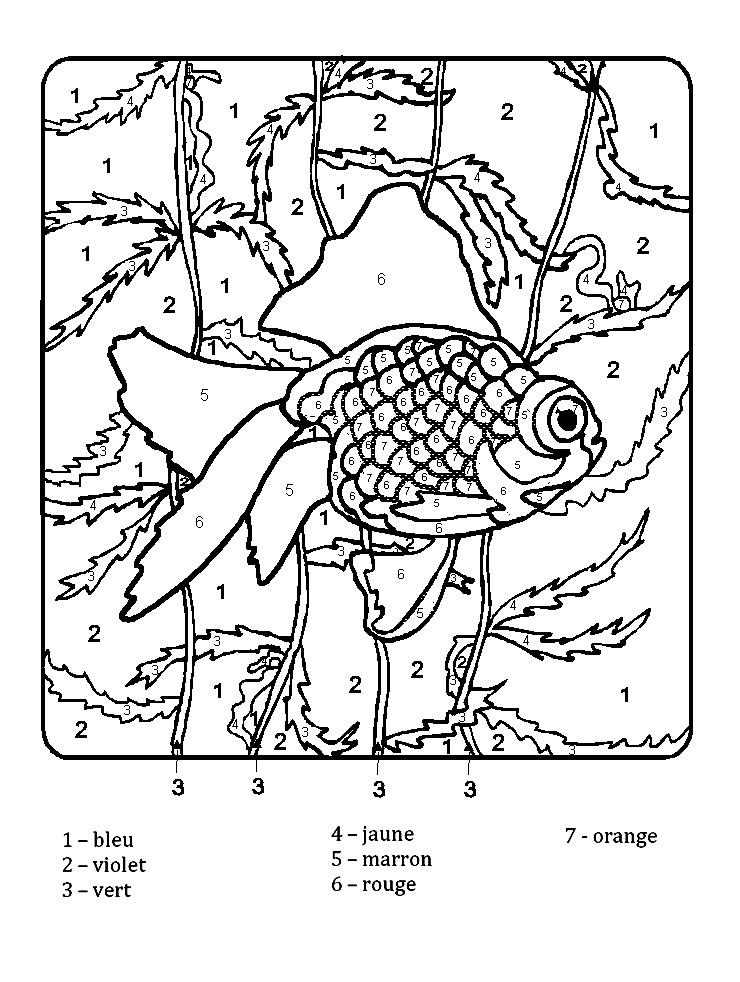 Coloriage magique par numéros poisson