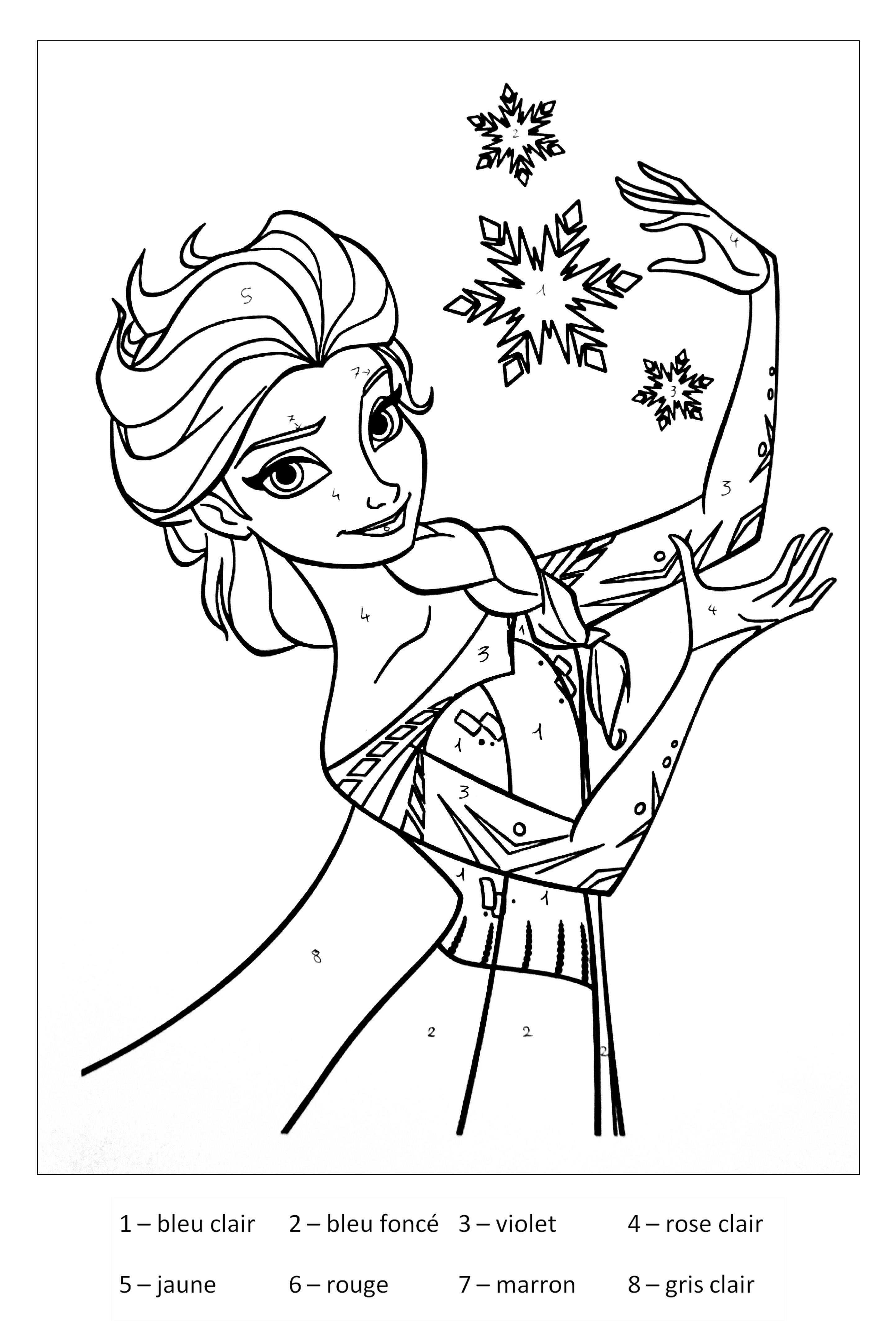 Magique reine des neiges coloriage magique coloriages - La reine des neige a imprimer ...