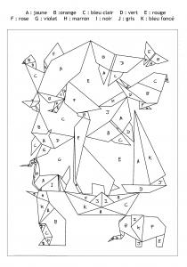 Coloriage magique a imprimer lettres origami