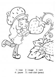 Coloriage magique charlotte aux fraises chiffres