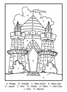 Coloriage magique gratuit lettres chateau