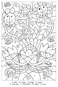 Coloriage magique lettres fleurs