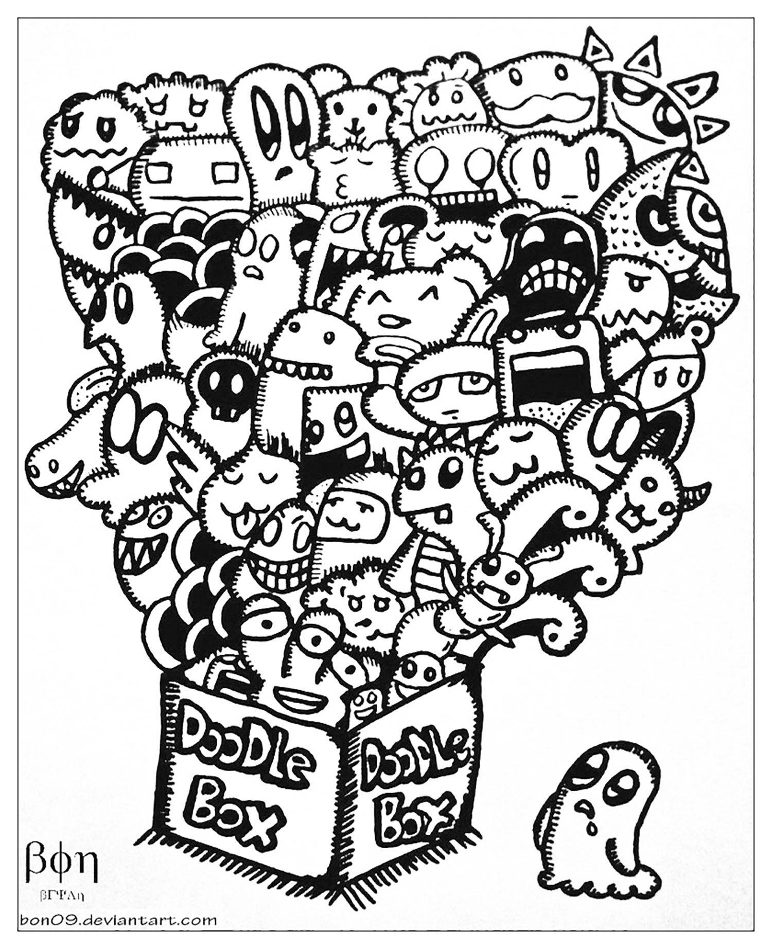 Complexe Doodle Box Coloriage Adulte Coloriages Pour Enfants