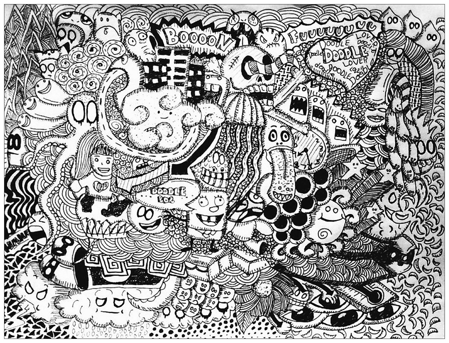 coloriage adulte doodle
