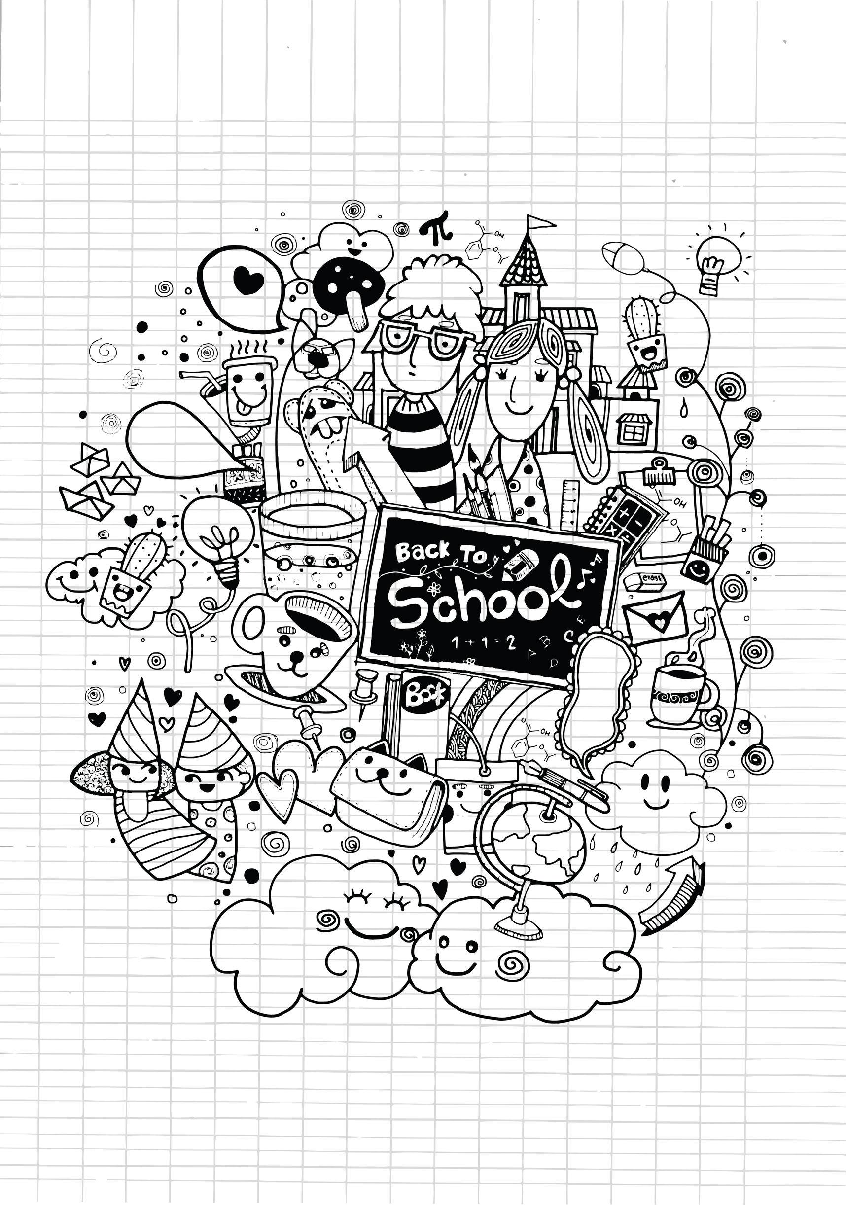 Doodle à colorier 'Rentrée des classes', par 9george