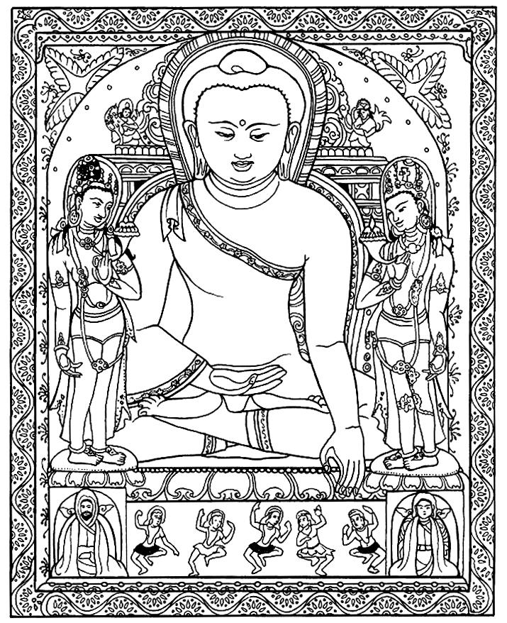 Coloriage complexe pour adultes d'une statue Tibétaine