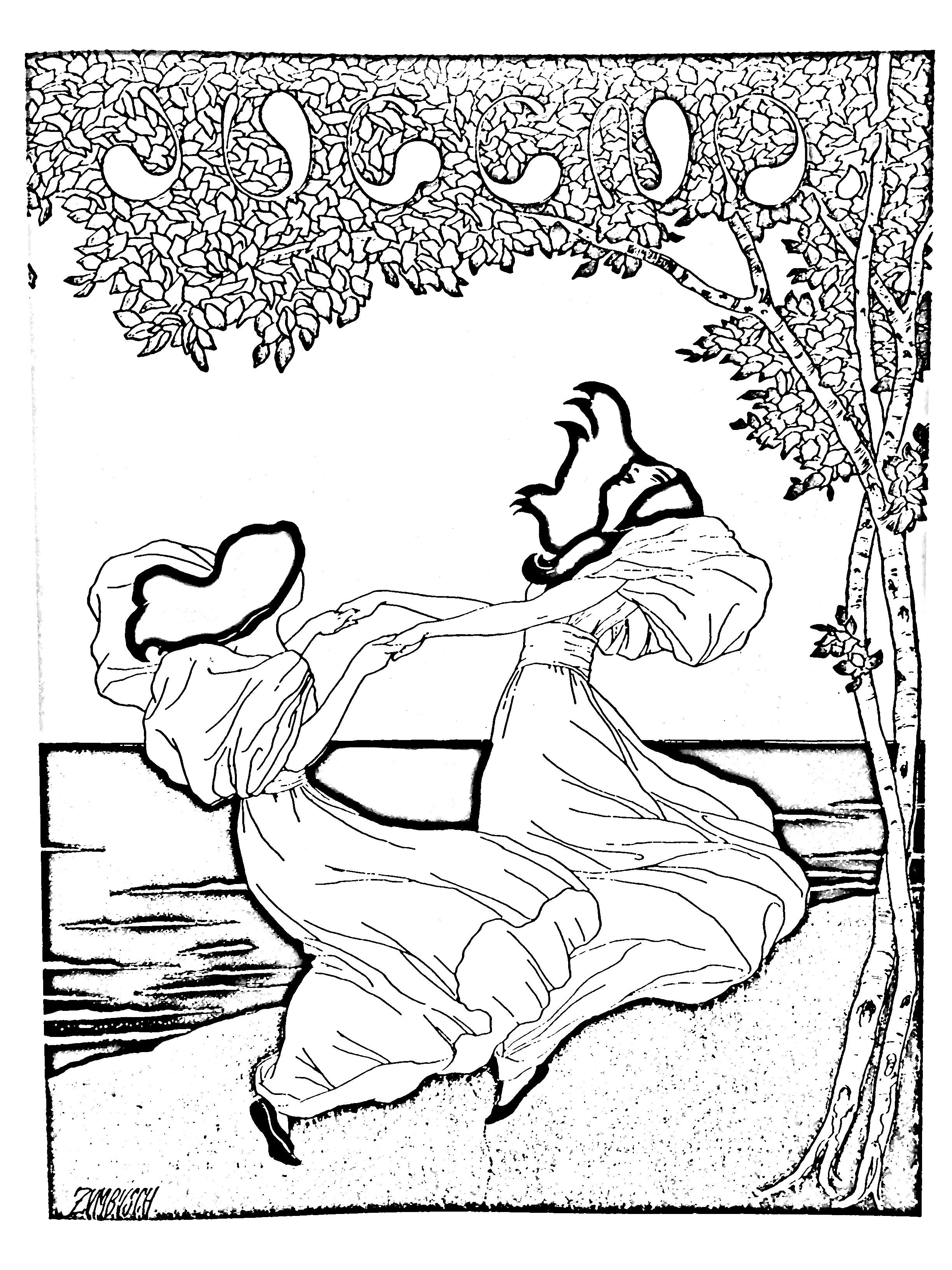 Art nouveau dapres lithographie de ludwig von zumbush 1900 gratuit a imprimer