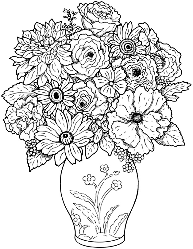 Bouquet coloriage adulte coloriages pour enfants - Coloriage adulte difficile ...
