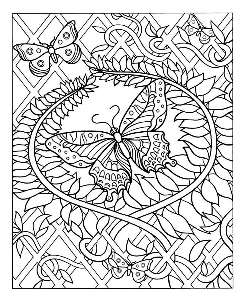 Coloriage A Imprimer Rosace Difficile.Papillon Coloriage Adulte Coloriages Pour Enfants