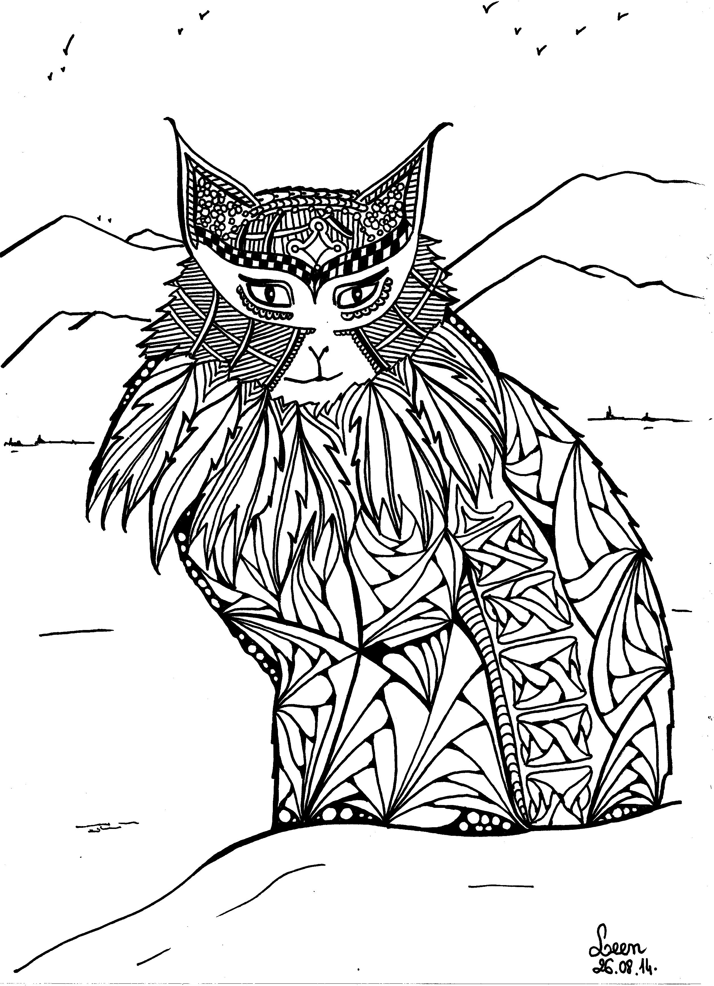 Coloriage Adulte Chat.Le Chat Des Montagnes Coloriage Adulte Coloriages Pour Enfants