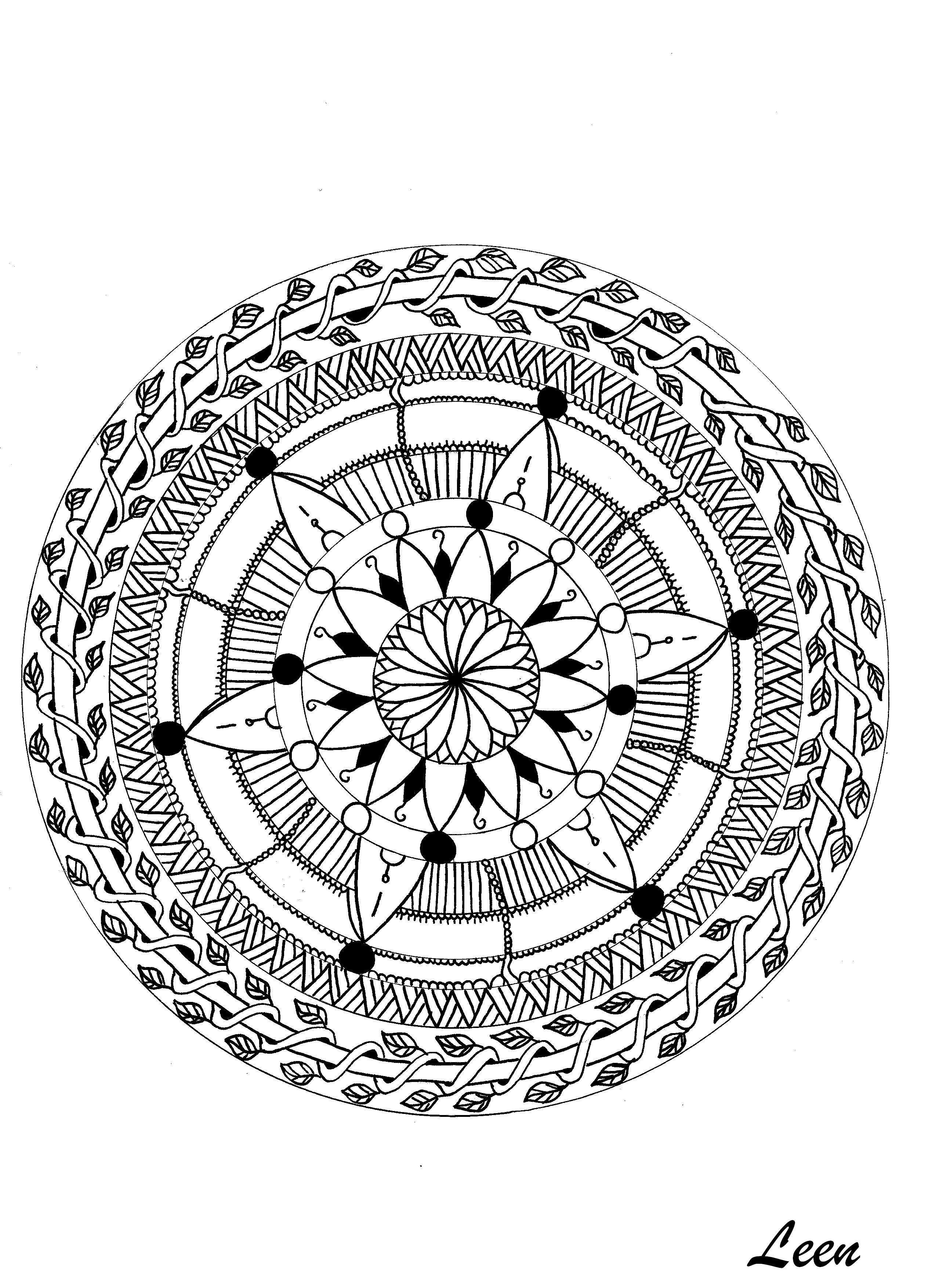 Mandala Feuillu Coloriage Adulte Coloriages Pour Enfants