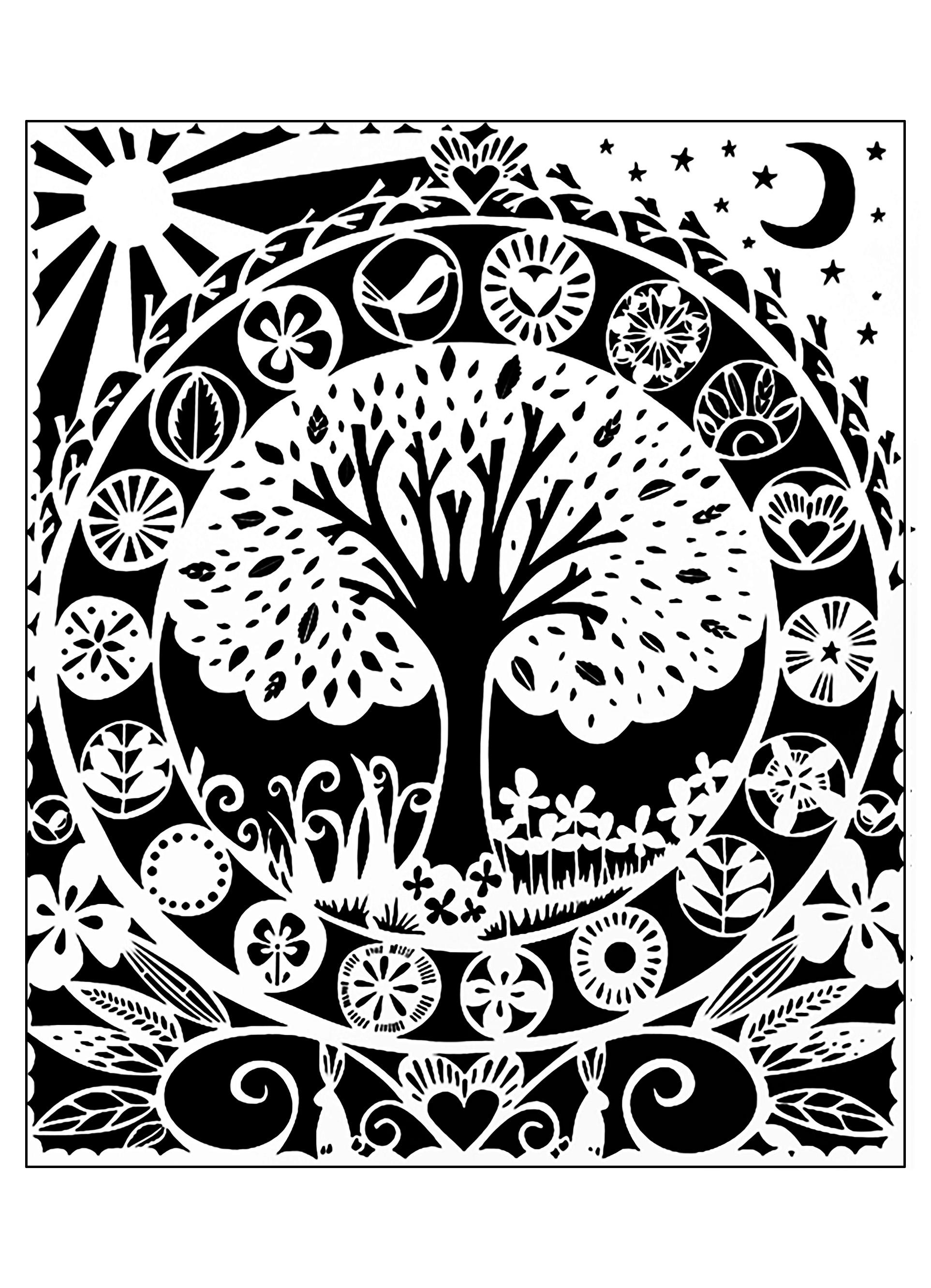 Pour Arbre Noir Blanc Gratuit A Imprimer Coloriage Adulte