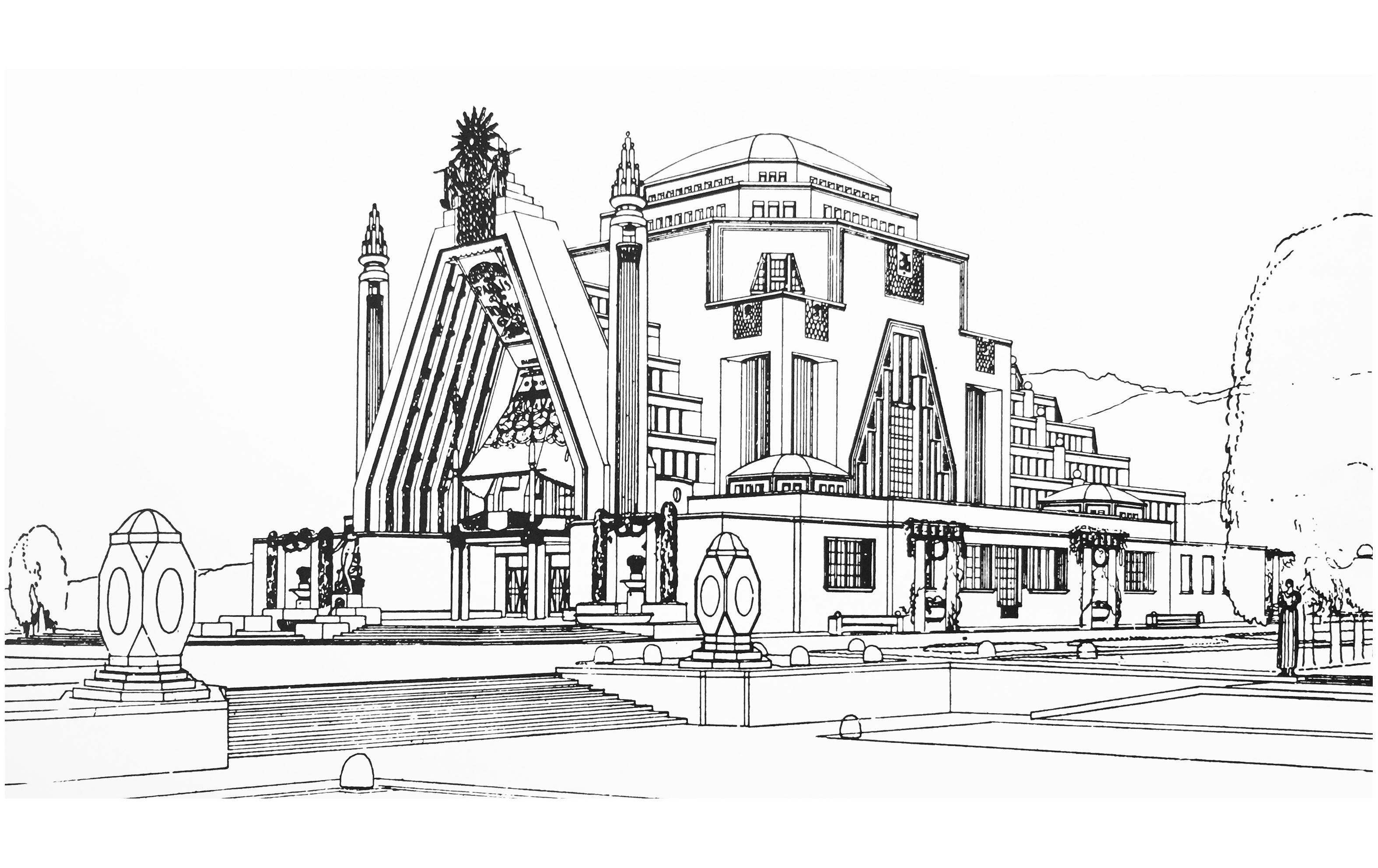 Dessin à colorier d'un monument Art Deco