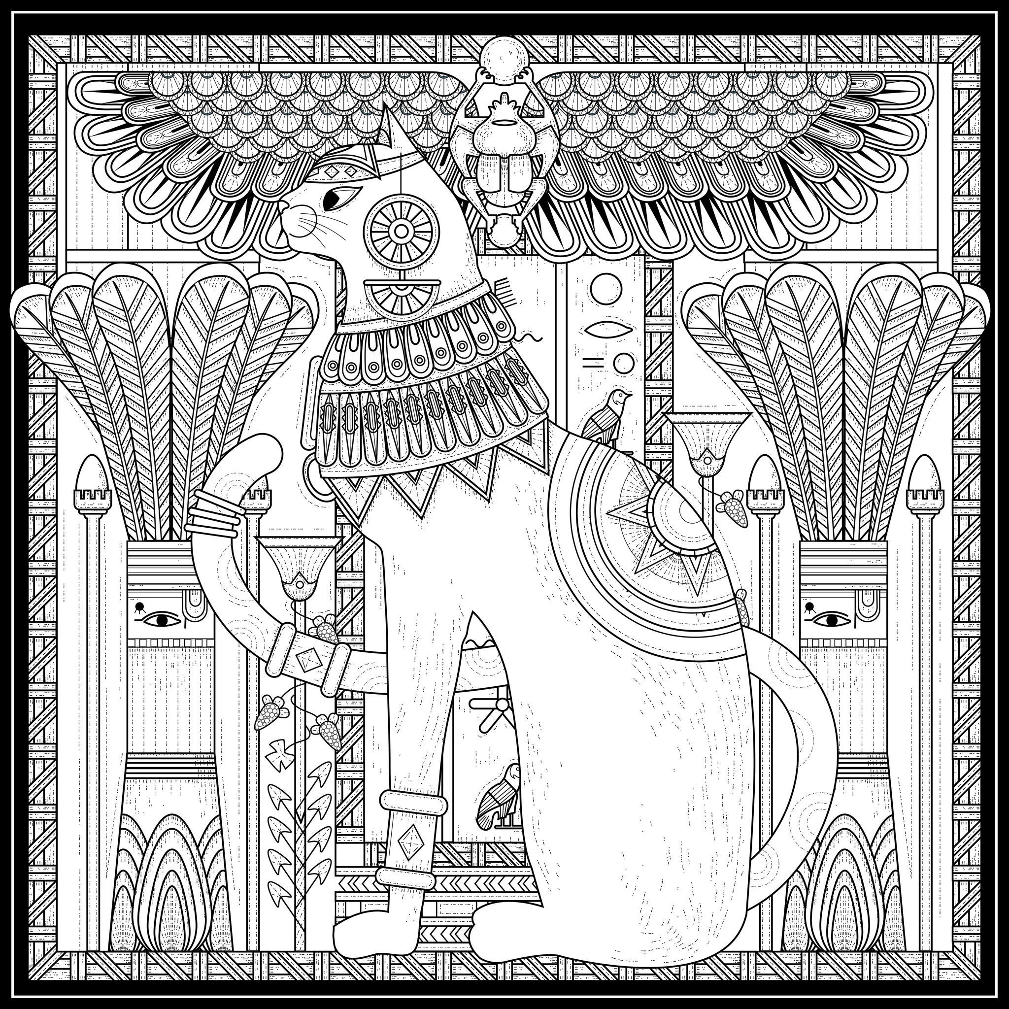 Coloriage pour adultes complexe sur le thème de l'Egypte : Chat Egyptien, par Kchung