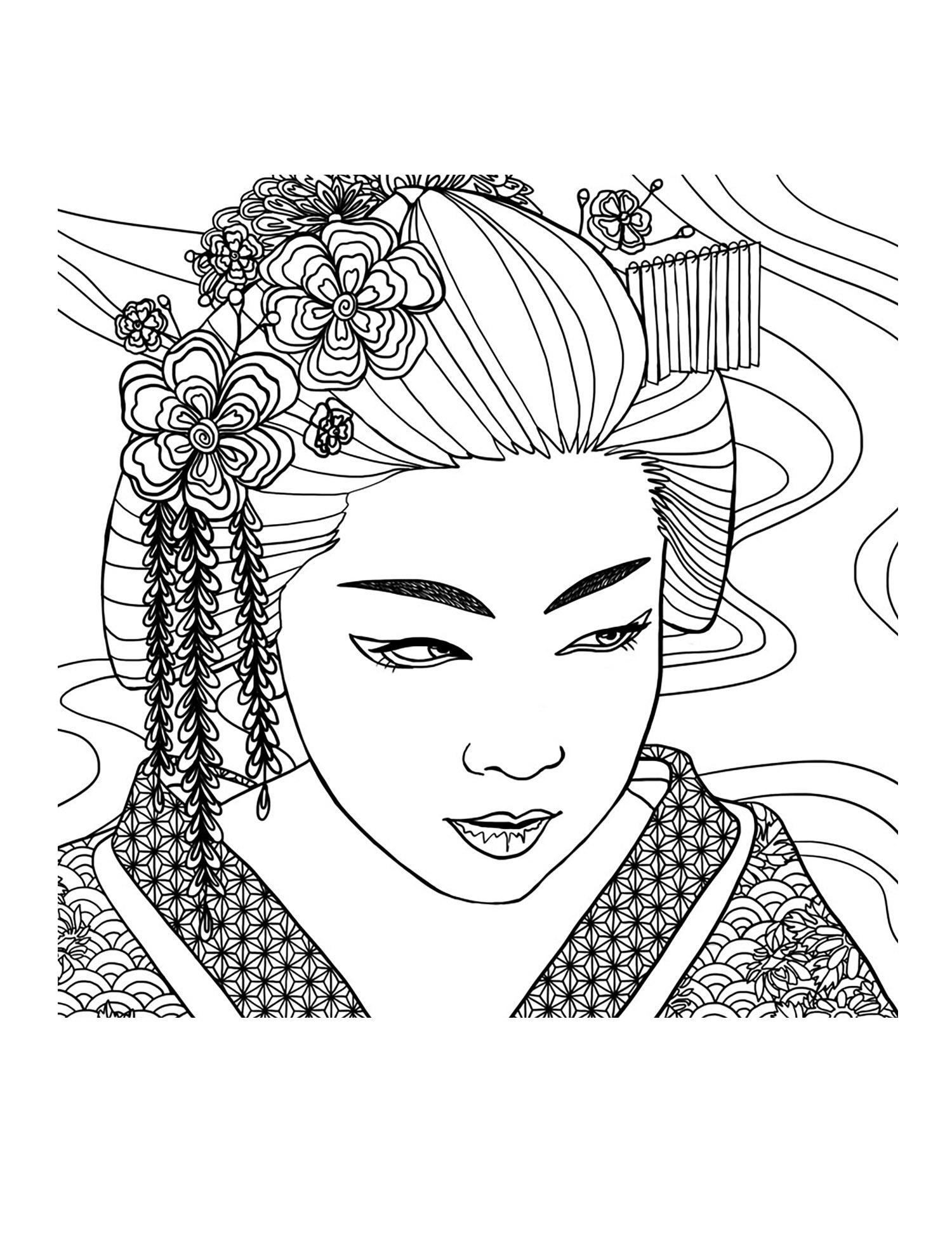 Coloriage A Imprimer Visage.Pour Geisha Visage Coloriage Adulte Coloriages Pour Enfants