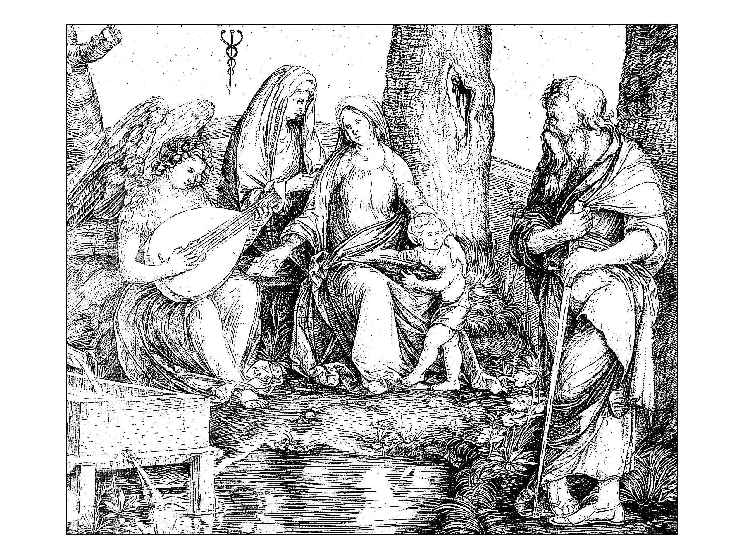Pour gravure jacopo de barbari sainte conversation vers 1509 gratuit a imprimer