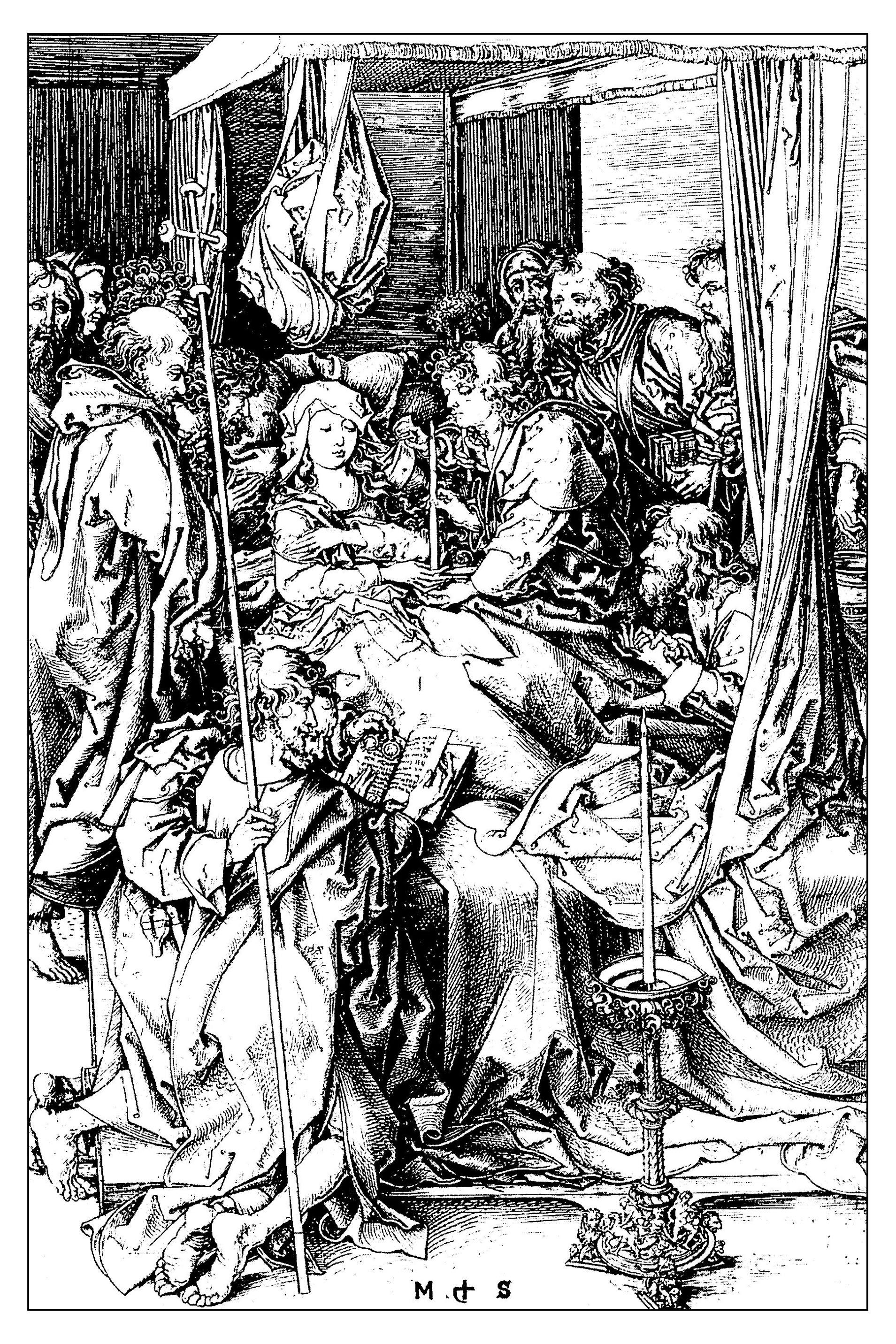 Pour gravure martin schongauer la mort de la vierge vers 1470 gratuit a imprimer