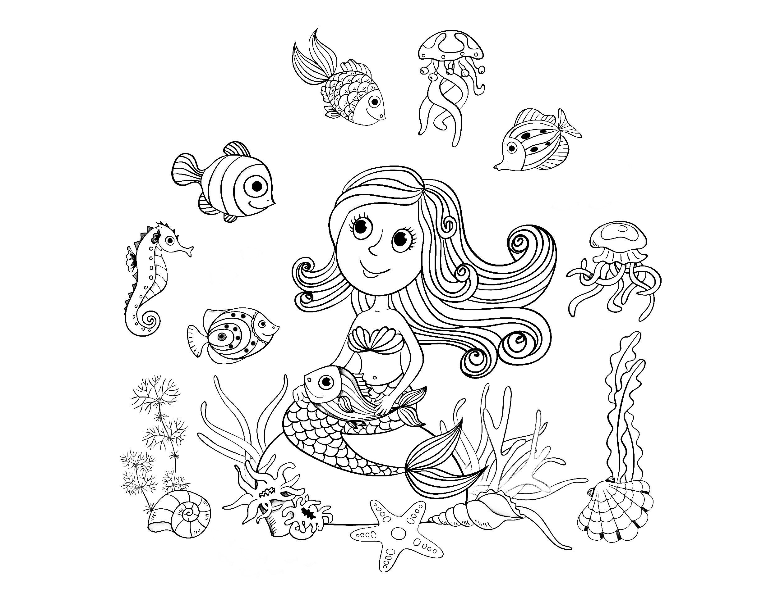 Coloriage adulte sirene - Coloriages sirenes ...