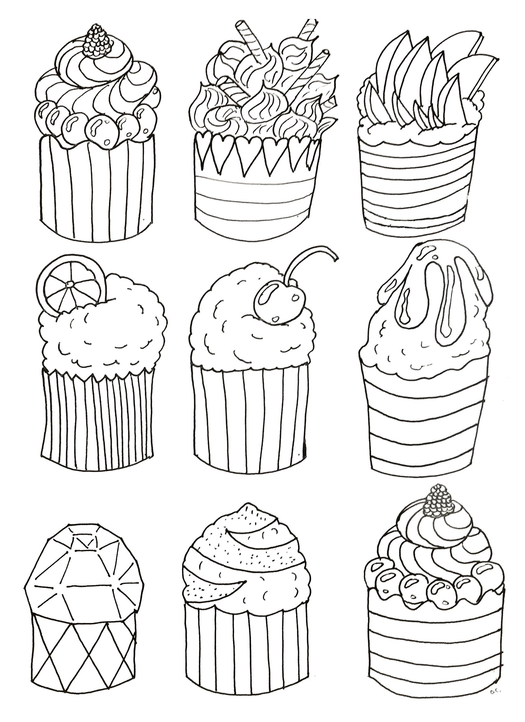 Coloriage Cupcake Adulte A Imprimer.Pour Simple Cup Cakes Coloriage Adulte Coloriages Pour