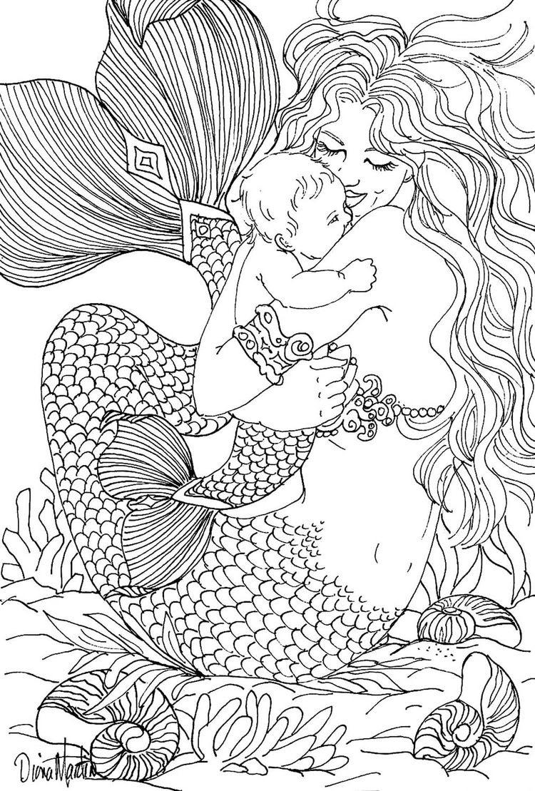 coloriage pour adulte sirene et enfant dessin de