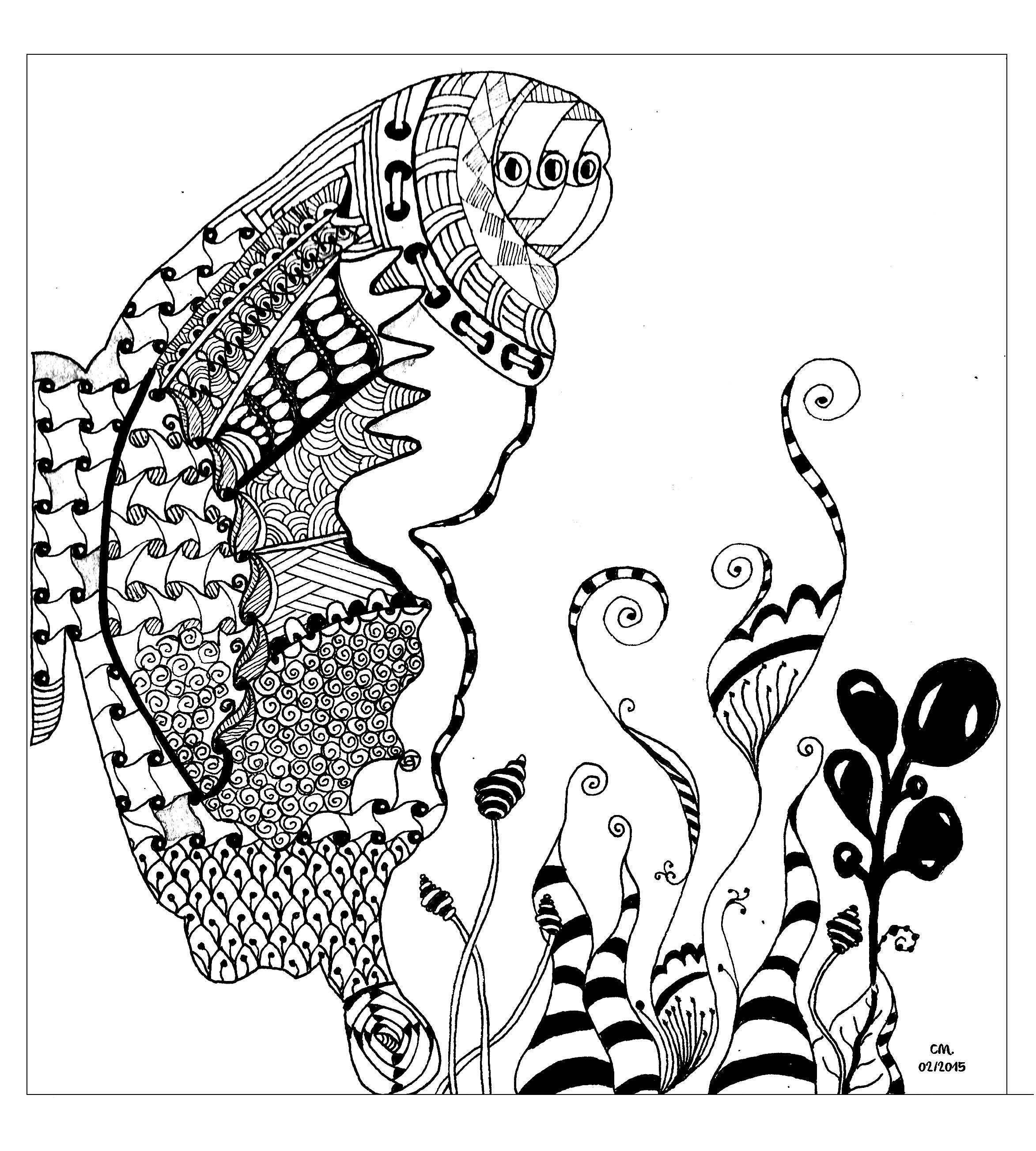coloriage adulte zentangle