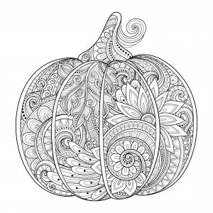Coloriage citrouille halloween zentangle source 123rf irinarivoruchko gratuit a imprimer