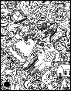 Coloriage complexe adulte doodle doodling 7 gratuit a imprimer