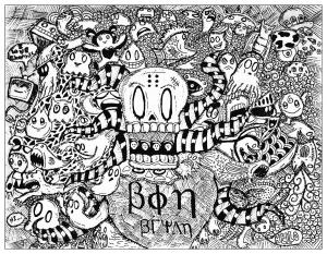 Coloriage complexe adulte doodle etrange par bon arts gratuit a imprimer