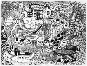Coloriage complexe adulte doodle lover par bon arts gratuit a imprimer