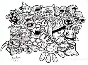 Coloriage complexe adulte doodle monstres par bon arts gratuit a imprimer